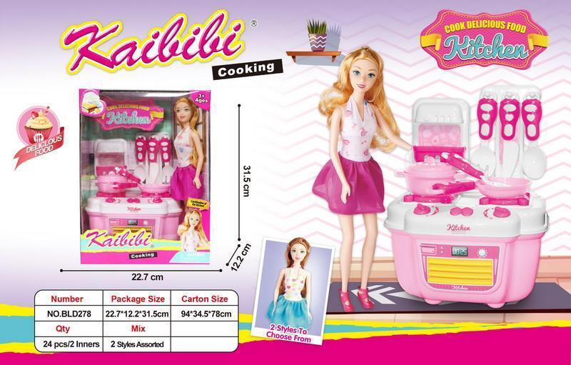 BLD 278 Кукла с кухней и посудой серия Kaibibi girl 32*23см