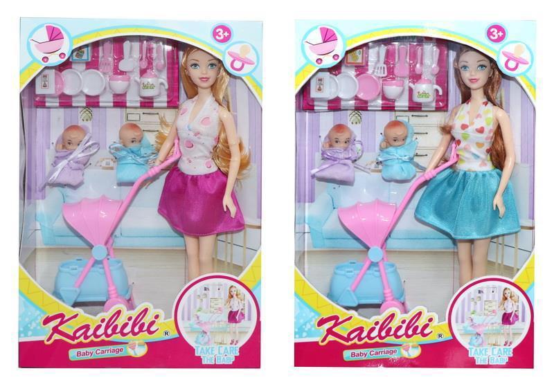 BLD 249 Кукла +2 малыша с коляской и посудой Kaibibi girl   32*22см
