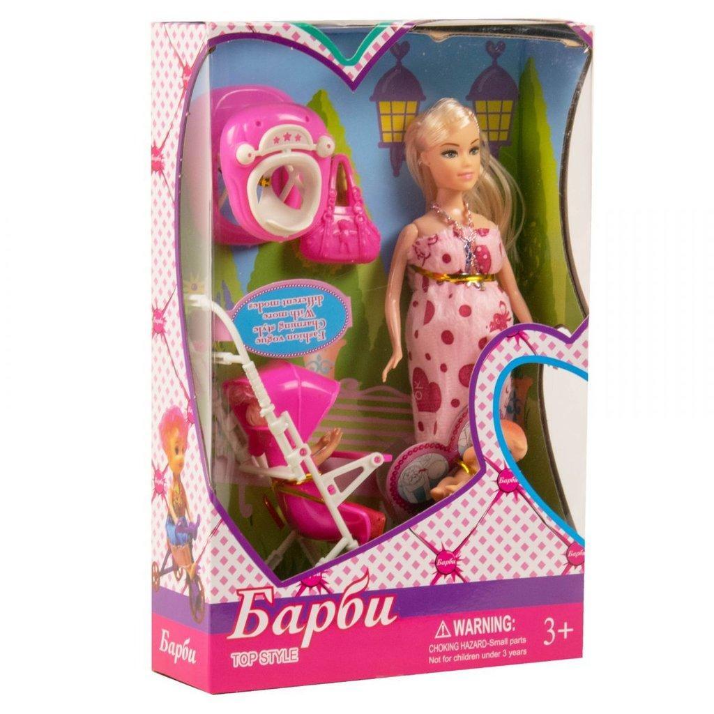 18020 Барби беременная с малышом и коляской 33*21см