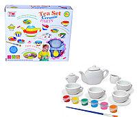 1406 Чайный сервиз (керамика) можно разукрасить (краски в наборе) 25*21см, фото 1