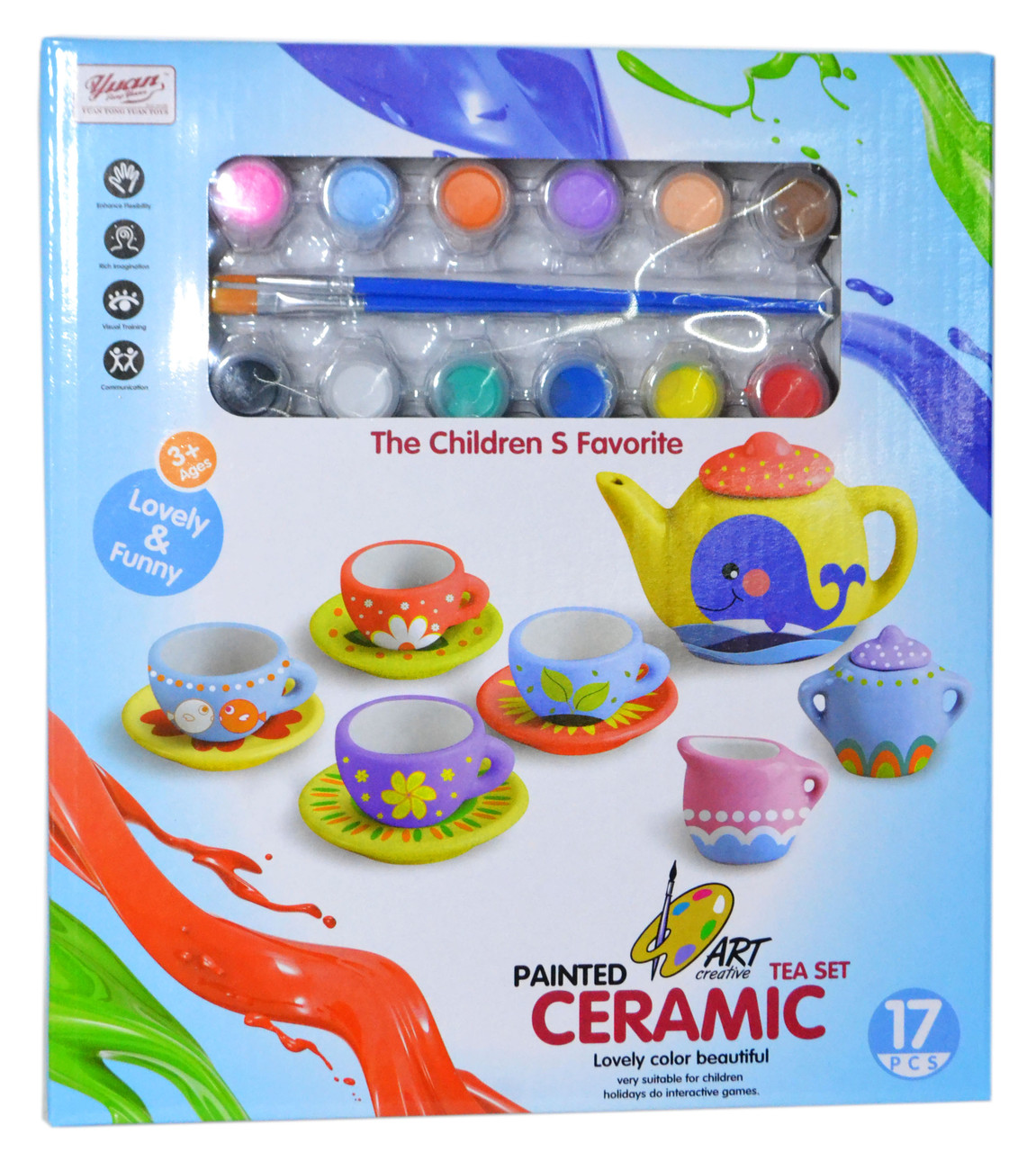 555-Diy004 Чайный сервиз (керамика) раскраска Painted Tea set 17 дет. 29*26см