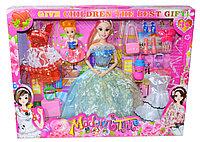 868 Modern time Барби (2платья, чемодан,обувь и аксесс) 42*22см