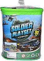 988-3 Набор солдаты и военная техника в сумке 90 предметов Soldier play set 22*17см
