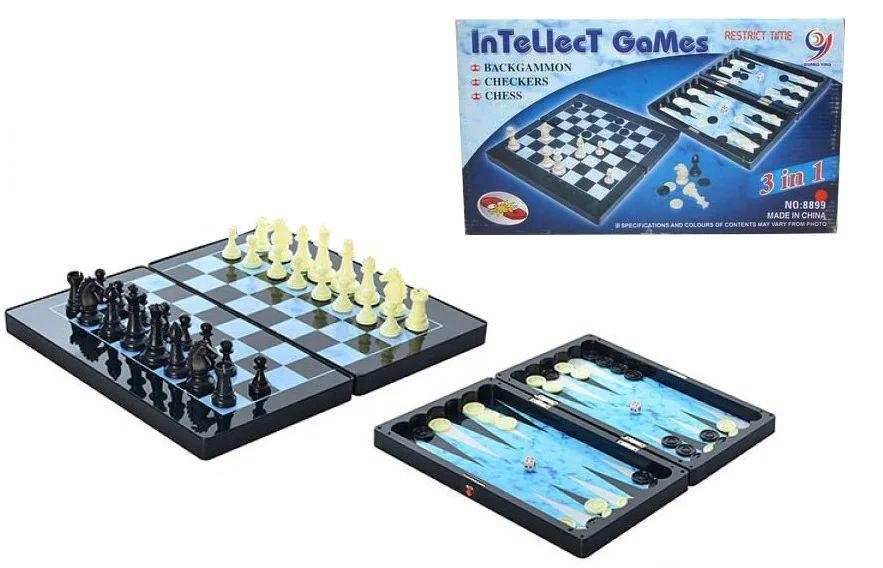 8899 Шахматы 3 в 1 Intellect games на магнитах 32*18см