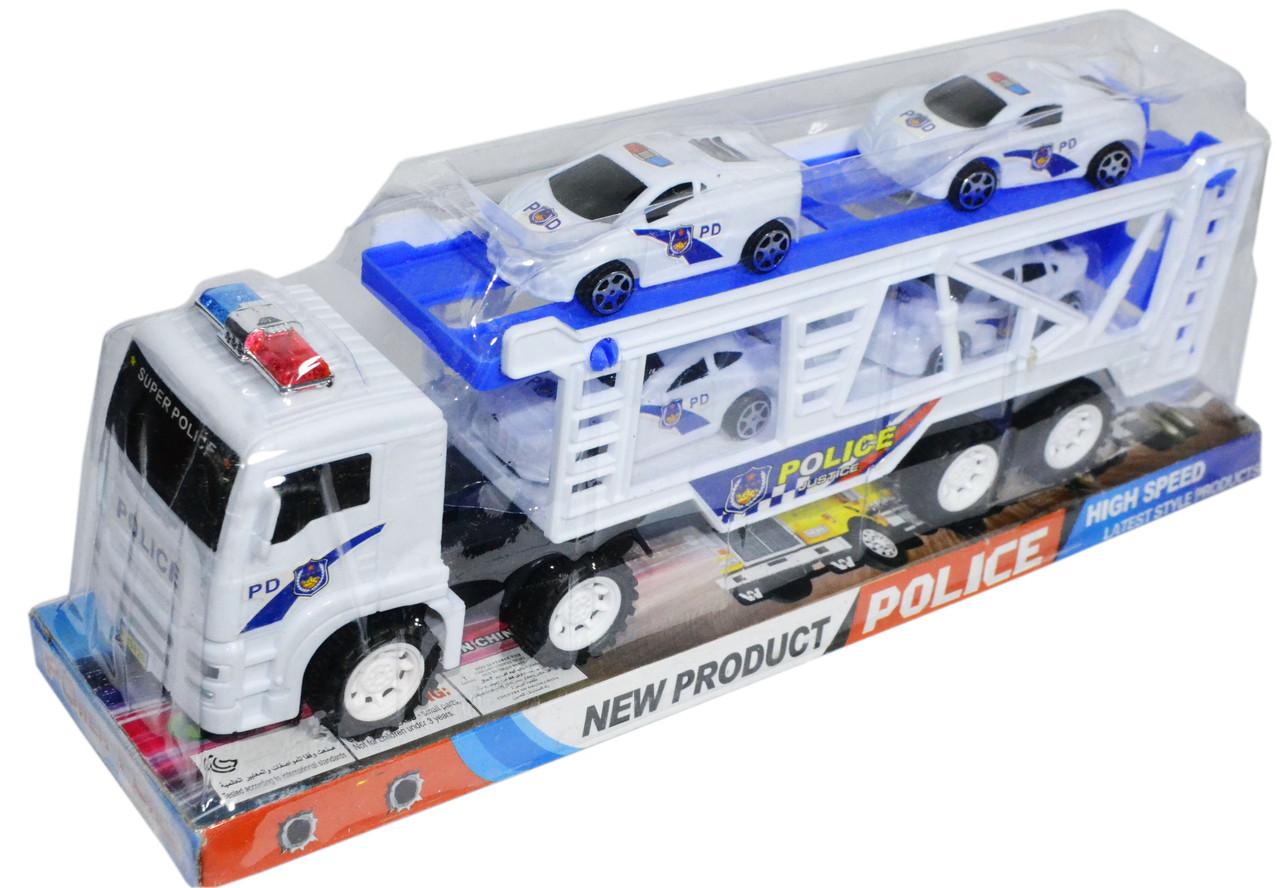 8828 Трейлер полицейский 4 машины 30*11см