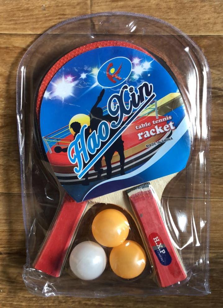 1027 Ракетки 2шт и 3 шарика в прозрачной упаковке HaoXin