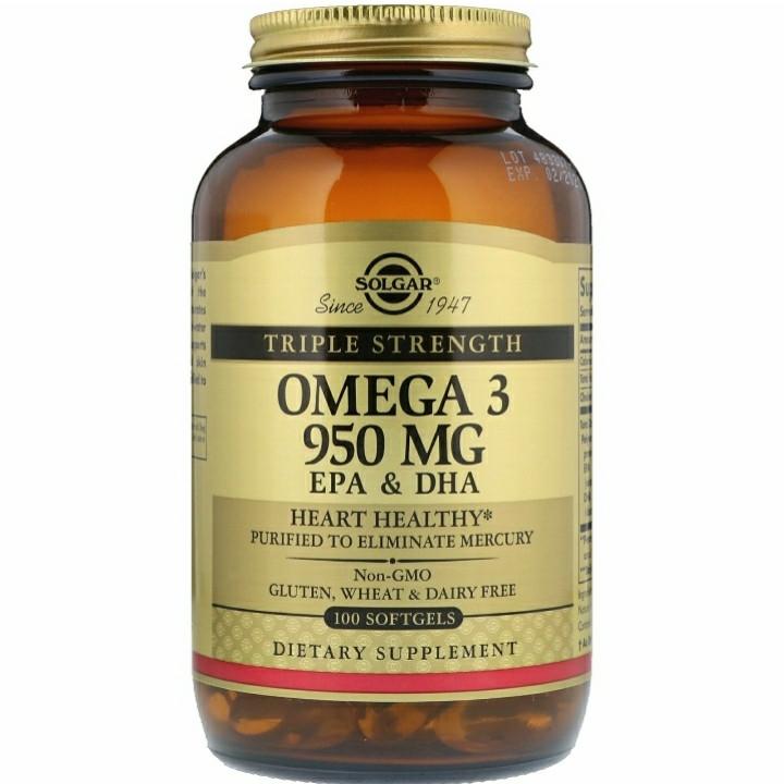 Омега-3 ЭПК и докозагексановая кислота, Тройная сила, 950 мг, 100 капсул