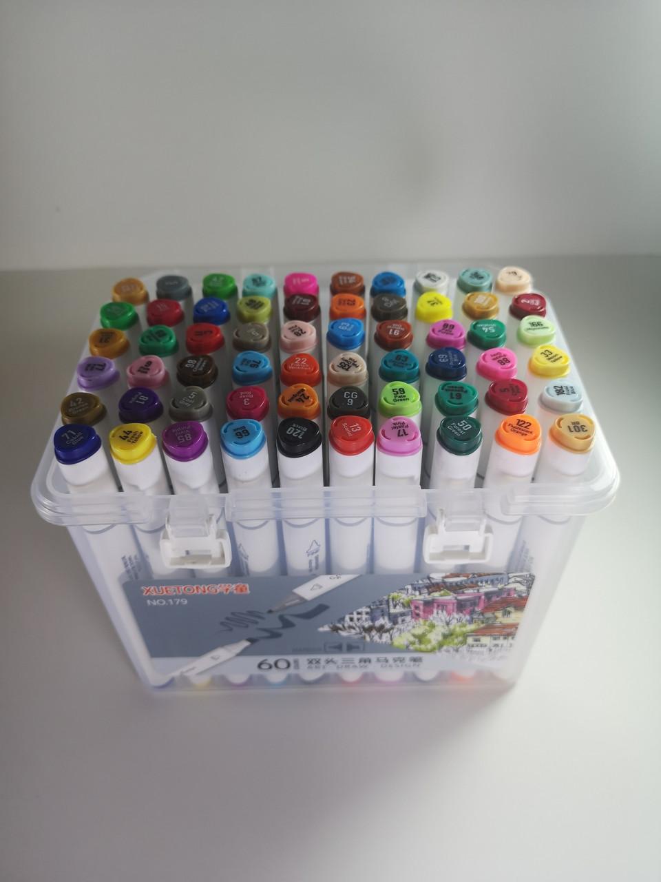 Маркеры Touch (тачмаркеры) толстые двусторонние Xuetong, 60 цветов