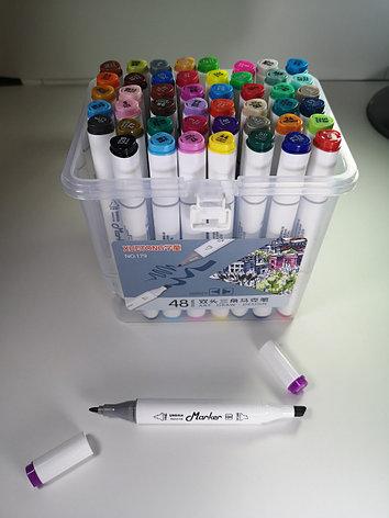 Маркеры Touch (тачмаркеры) толстые двусторонние Xuetong, 48 цветов, фото 2