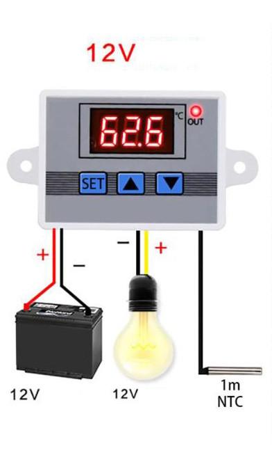 Термостат цифровой регулятор температуры XH-W3002 на 12В для инкубатора - фото 4