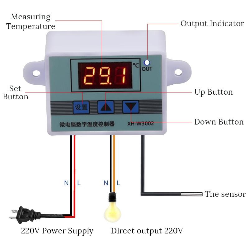 Термостат цифровой регулятор температуры XH-W3002 на 12В для инкубатора - фото 6