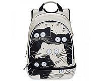 Рюкзак школьный для девочки Коты, серый