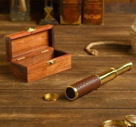 Подзорная труба сувенирная «7-й континент» ручной работы в деревянной шкатулке (В оплетке из кожи), фото 2