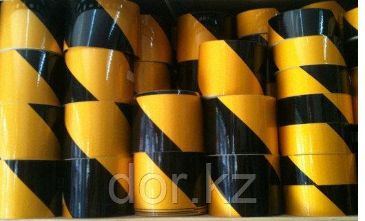 Лента световозвращающая черно-желтая 10 см для ограждения опасностей