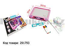 Планшет для рисования 3D Magic Drawing Board c 3D очками светящийся прямоугольный розовый 20х24,5 см
