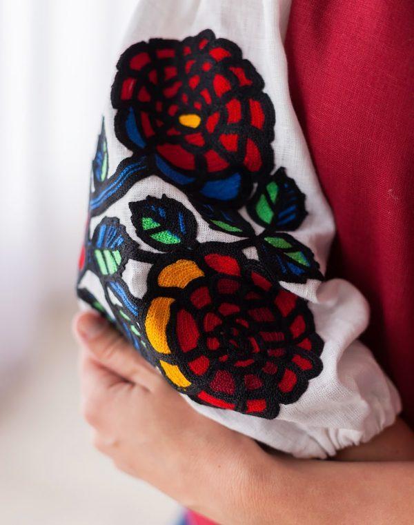 Вышиванка женская Шипшина лён бордо - фото 2