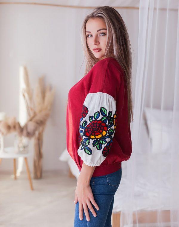 Вышиванка женская Шипшина лён бордо - фото 3