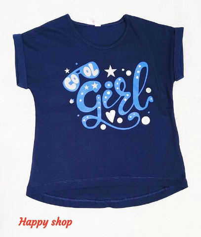 Детская футболка синяя с принтом