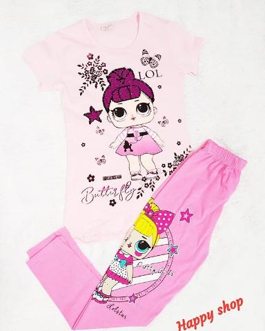 Детские лосины розовые с рисунком