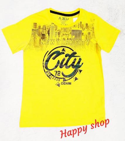 Детская футболка желтая с принтом