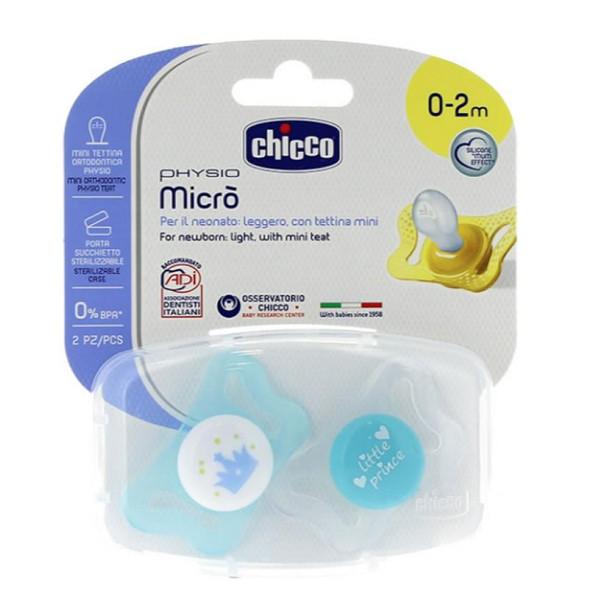 Пустышка силиконовая Chicco Micro 0+ 2 шт голубая