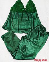 Пеньюар женский зеленый тройка