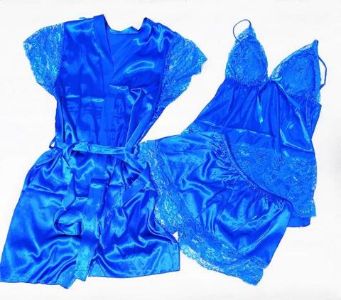 Пеньюар женский голубой тройка