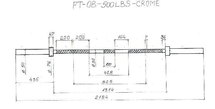 Гриф олимпийский прямой 2200мм, до 226 кг, хромированный, фото 2