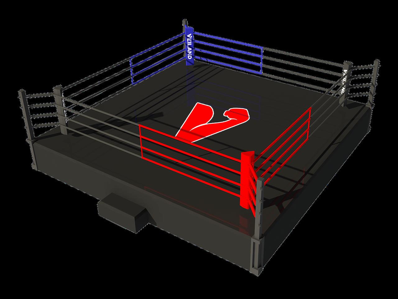 Боксерский ринг на помосте 7,5х7,5 м (боевая зона 6х6 м), помост 1 м