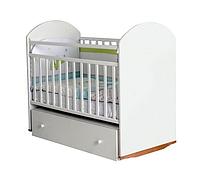 Детская кроватка Incanto Bonito колесо/качалка с ящиком белый