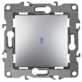 12-1102-03 Выключатель с подсветкой 10АХ-250В ЭРА12, алюминий