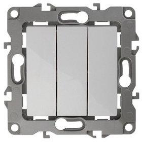12-1107-01 Выключатель тройной 10АХ-250В ЭРА12, белый