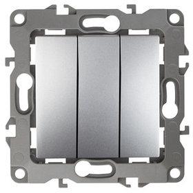12-1107-03 Выключатель тройной 10АХ-250В ЭРА12, алюминий