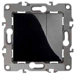 12-1107-06 Выключатель тройной 10АХ-250В ЭРА12, черный