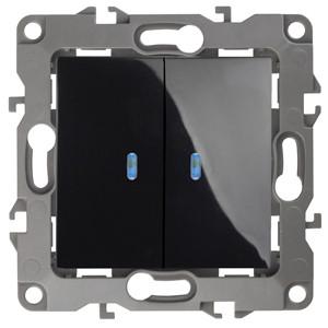 12-1105-06 Выключатель двойной с подсветкой 10АХ-250В ЭРА12, черный