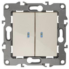 12-1105-02 Выключатель двойной с подсветкой 10АХ-250В ЭРА12, слоновая кость