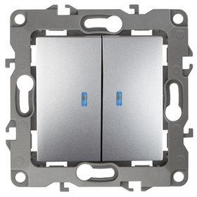 12-1105-03 Выключатель двойной с подсветкой 10АХ-250В ЭРА12, алюминий