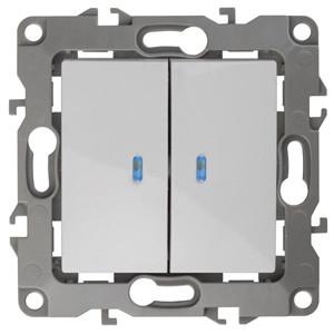 12-1105-01 Выключатель двойной с подсветкой 10АХ-250В ЭРА12, белый