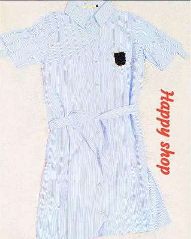 Женская голубая рубашка в полоску с поясом 42-50 размер