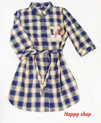 Женская рубашка в клетку с поясом 42-48 размер