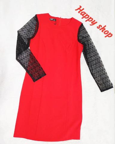 Платье красное с кружевными рукавами размер 42-48
