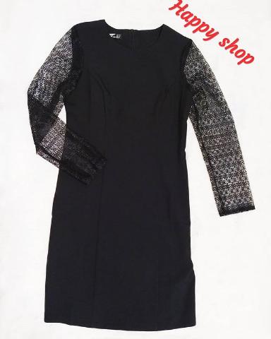 Платье черное с кружевными рукавами размер 42-48