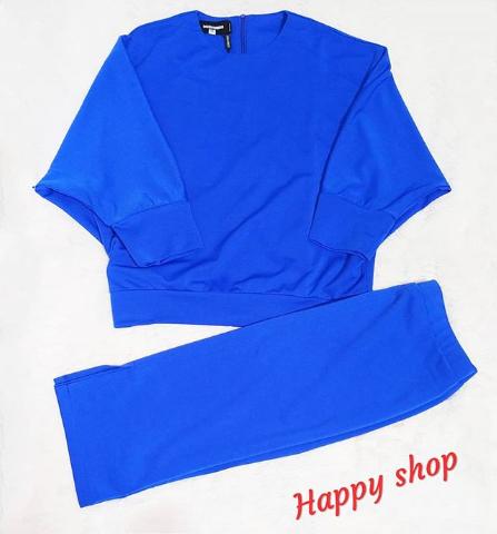 Женский костюм двойка (кофта и бриджи) синий размер 40-48