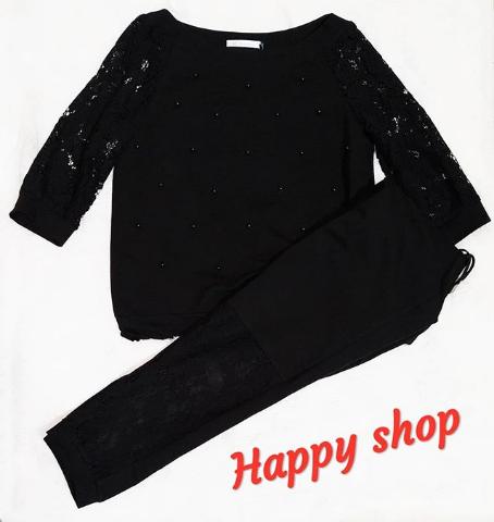 Женский костюм двойка черный размер 42-48