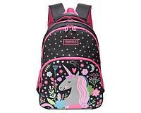 Рюкзак школьный для девочки Единорог черный