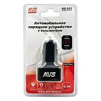Автомобильное зарядное устройство USB с вольтметром (2 порта, 3.1А) (черный)