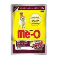 Влажный корм Ме-О для кошек, говядина/ягненок, в соусе, пауч, 80 г