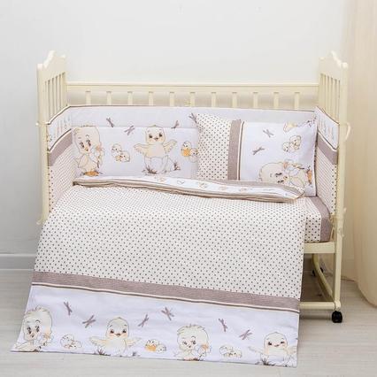 Эдельвейс Борт в кроватку Цыплята из 4-х частей, чехлы не сьемные, бязь Бежевый