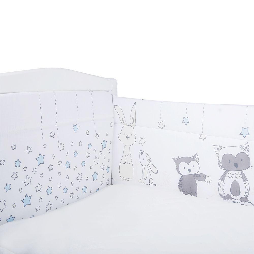ЭДЕЛЬВЕЙС Борт в кроватку Лесные друзья из 4-х частей бязь (голубой)
