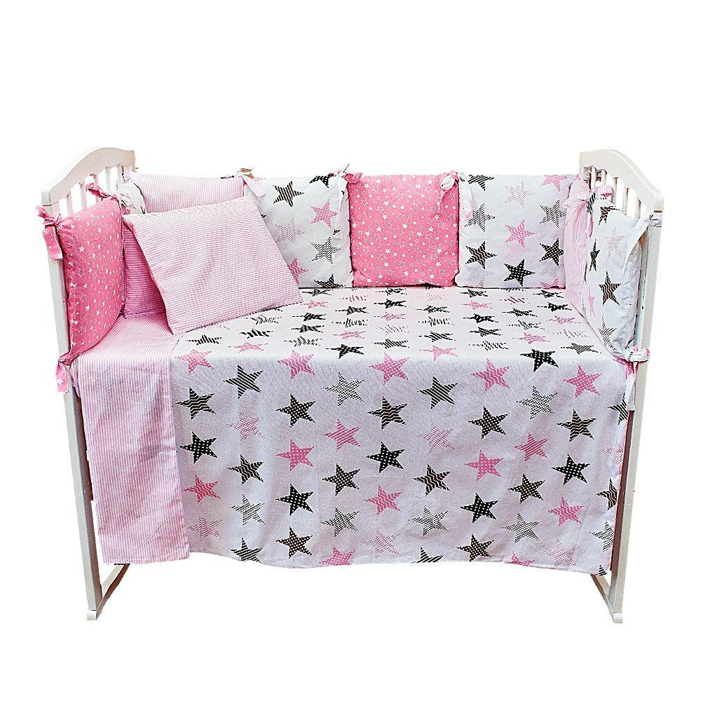 Комплект в кроватку 6 предм. КУБИКИ, бязь, Розовые звезды Alis
